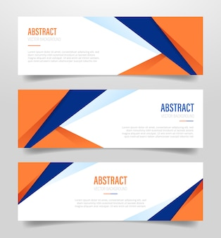 Blue and orange polygonal geometric shapes banner template