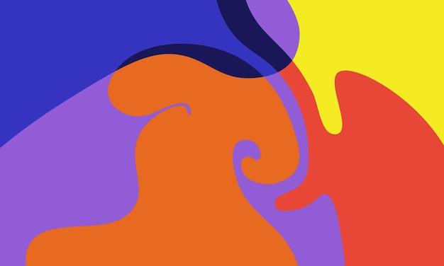 파란색, 주황색, 보라색 및 노란색 액체 액체 배경. 귀하의 비즈니스를 위한 최고의 스마트 디자인.
