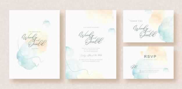 結婚式の招待状にブルーオレンジのスプラッシュ水彩画
