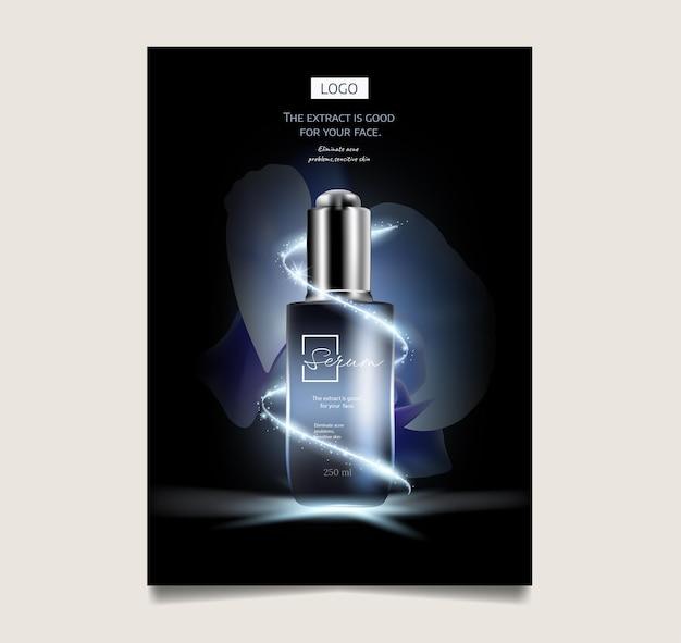 Голубая орхидея и косметическая реклама по уходу за кожей, капля и 3d бутылка в синем море со вспышкой света в 3d