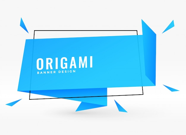 Blue origami chat bubble style ribbon vector illustration