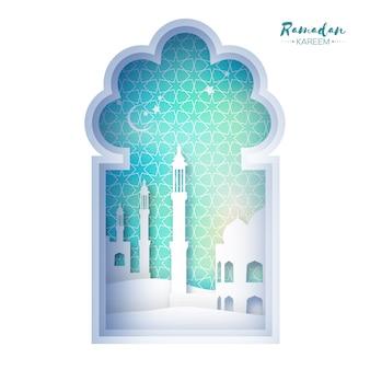 Окно мечети голубого оригами рамадан карим поздравительная открытка с арабскими арабесками геометрической. священный месяц мусульман. символ ислама.