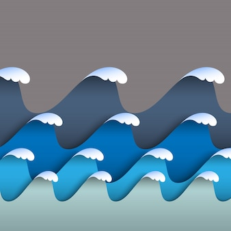 Blue origami paper waves with sea foam