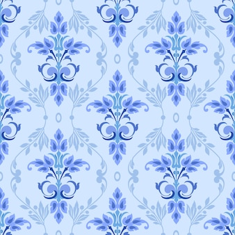 Blue ornament seamless pattern can use for background wallpaper.
