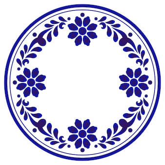 Blue ornamental floral round