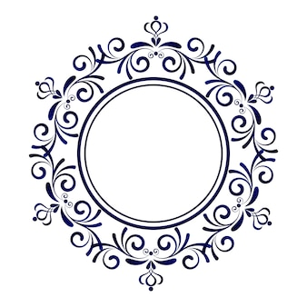 Blue ornamental frame, Decorative round, Abstract floral ornament border