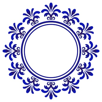 Blue ornamental round, decorative art frame