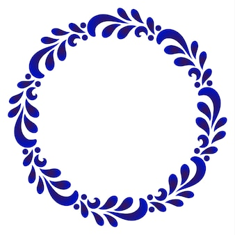 Blue ornamental round frame with leave