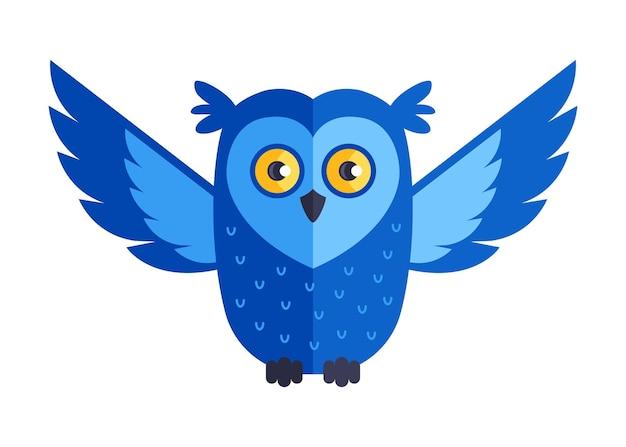Голубая сова летает и охотится. плоские векторные иллюстрации.