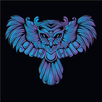 Blue owl head illustration