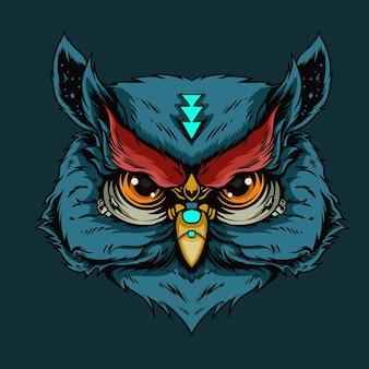 青いフクロウの頭のイラスト