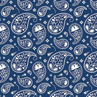 青いペイズリーバンダナパターン