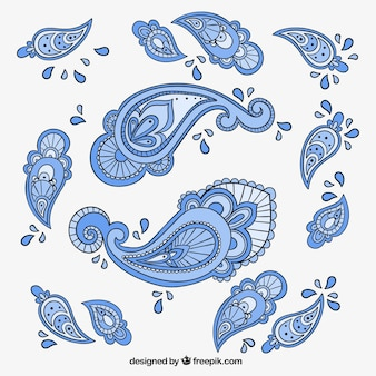 Blue paisley ornaments