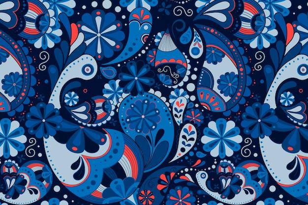 블루 페이즐리 패턴 배경, 인도 꽃 예술 벡터