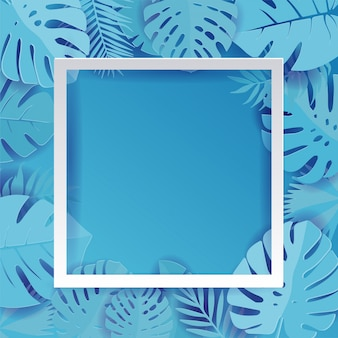 Blue palm leaf vector background illustration in paper cut style. exotic tropical jungle rainforest bright cyan palm tree and monstera leaves border frame