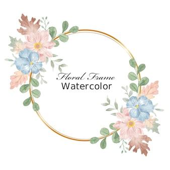잎 수채화 화환 블루 팬지