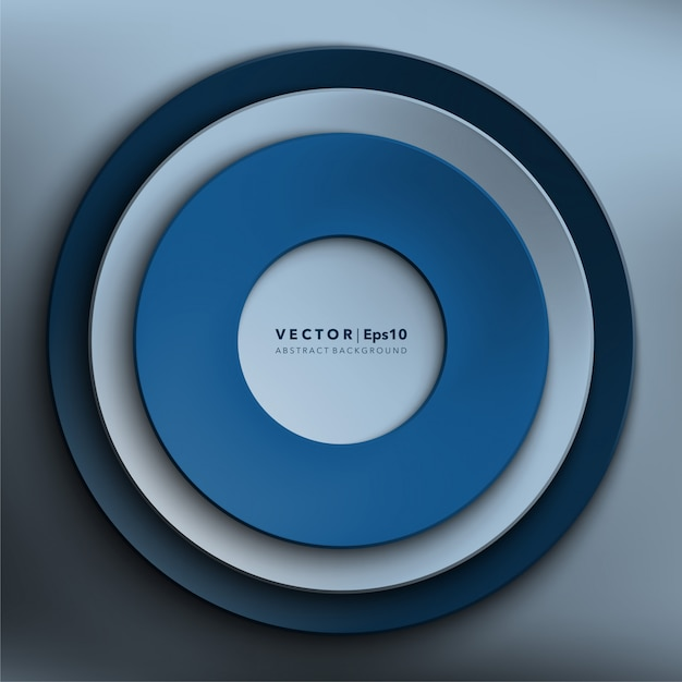 Blue paper circles. round paper frame. abstract vector surface.