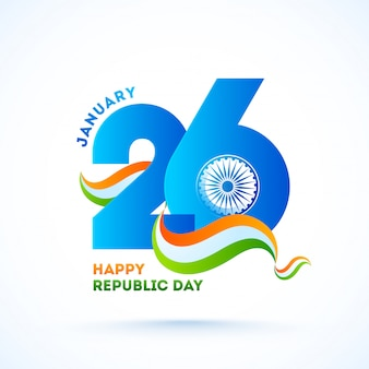 Blue paper cut 26 january text with ashoka wheel and wavy tricolor ribbon for happy republic day celebration.