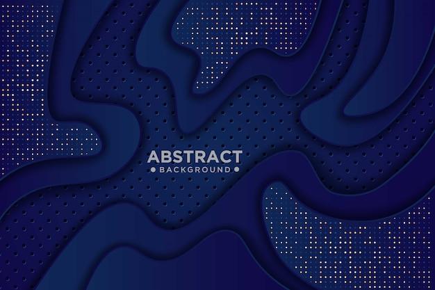 青い紙カット背景。波状の層と金色の白い輝きで抽象的な現実的な切り絵装飾。 3d地形レリーフ。