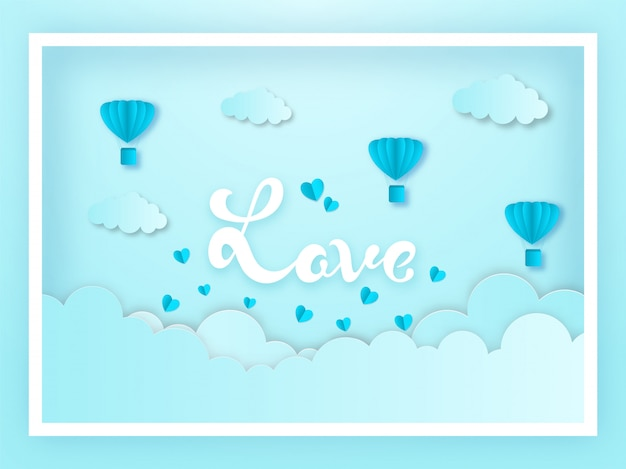Blue paper cut style cloudy