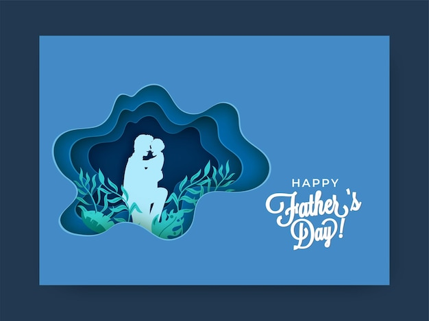 Blue paper layer cut background decorated with leaves and silhouette man hugging his child for happy father's day.