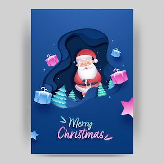 Синий слой бумаги вырезать фон с рождественскими деревьями