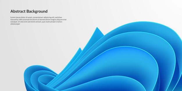 青い紙の羽ペンの抽象的な背景。現代の更新未来的な活気に満ちた波の白い背景