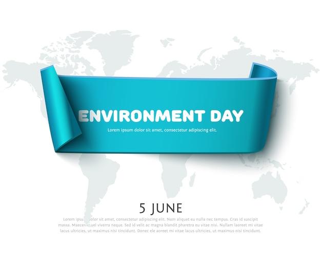 白で隔離される地図と世界環境デーのデザインのための青い紙リボンバナー。環境デーのコンセプト、エコデザイン