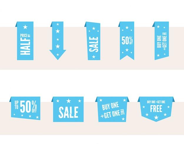 Синие бумажные речевые бирки для продажи и рекламы.
