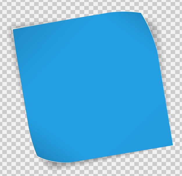 Blue paper sticker over transparent background