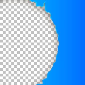 찢어진 반원이 있는 파란색 종이. 벡터