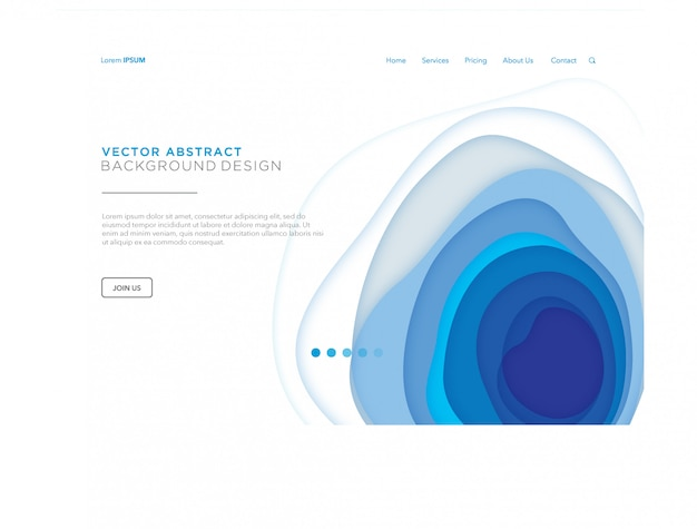 Blue papercut landing page or web template