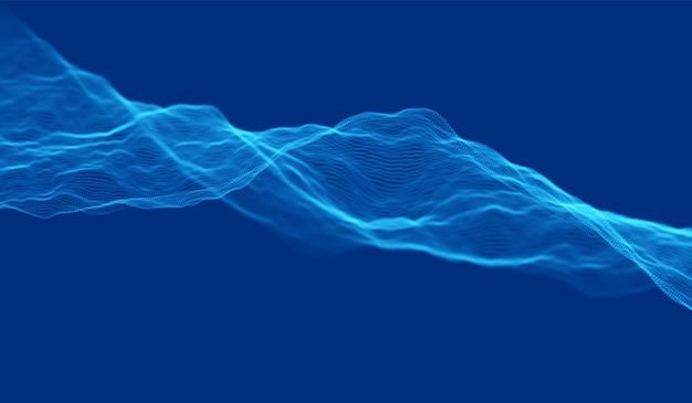 青い粒子の波の背景。抽象的な動的メッシュ。ビッグデータテクノロジー。ベクトルグリッドイラスト。