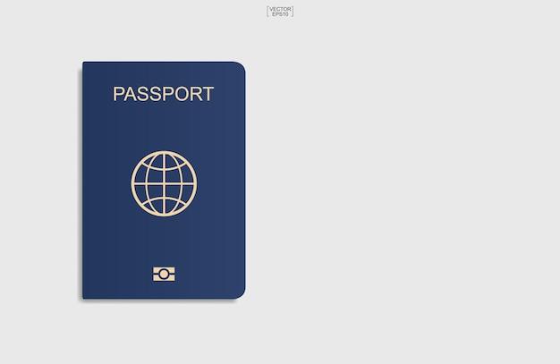 Фон синий паспорт на белом фоне. векторная иллюстрация.