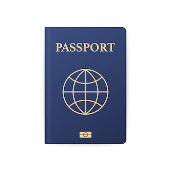 Blue passport isolated on white. international identification document for travel.