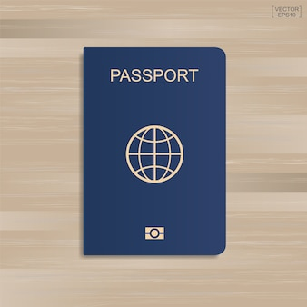 Blue passport on wood background. vector illustration.