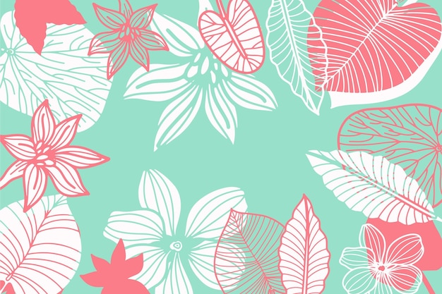 Blue pastel linear tropical leaves background