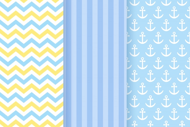 Blue pastel seamless patterns set