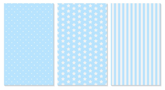 Blue pattern. baby background.  polka dot, stripes, stars pattern.