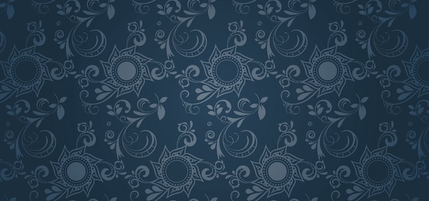 Blue pattern banner in a gothic style