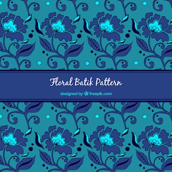 Blue pattern of batik flowers