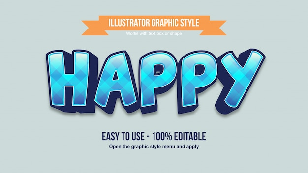 Blue pattern cartoon 3d display editable text effect