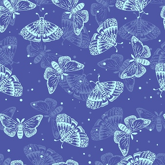 아름 다운 나비의 파란색 패턴입니다. 곤충 완벽 한 패턴입니다. 벡터 일러스트 레이 션