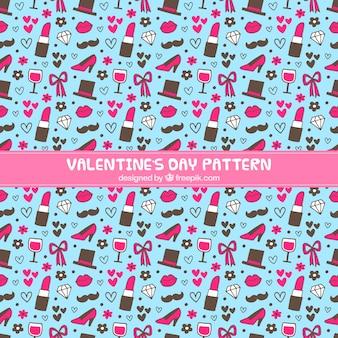 발렌타인 데이 개체의 파란색 패턴