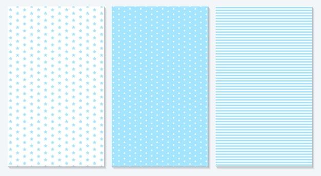 파란색 패턴. 폴카 도트, 줄무늬, 별 패턴.