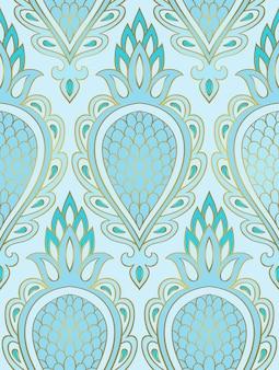 抽象的なフルーツと青いパターンシームレスな細線細工の飾り