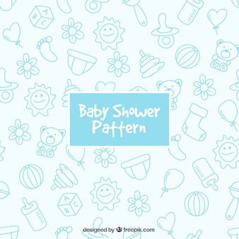 Blue pattern with baby elements