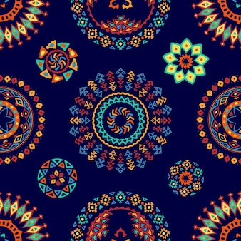 Blue pattern with ethnic abstract forms