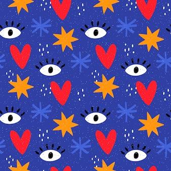 手描きの形で青いパターン