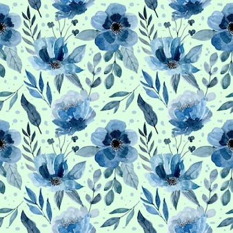 Blue pattern with watercolor floral and leaves